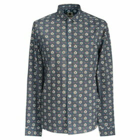 Pretty Green Slim Fit Leaf Print Shirt