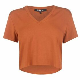 Firetrap Blackseal Crop V Neck T Shirt