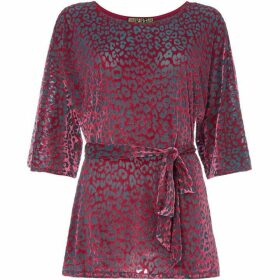 Biba Leopard burn out tie waist top