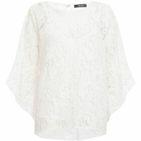 Quiz White Crochet Frill Sleeve Top