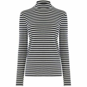 Warehouse Stripe Funnel Neck Top