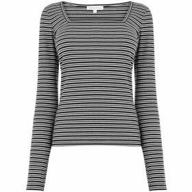 Warehouse Square Neck Stripe Rib Top