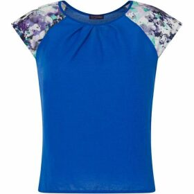 HotSquash Crepe Top With Floral Sleeve Detail