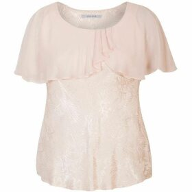 Chesca Jacquard Top With Chiffon Cape Trim