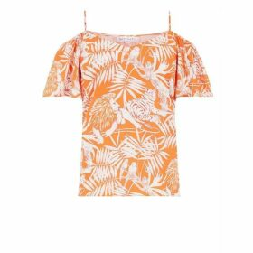 Warehouse Sahara Print Cold Shoulder Top