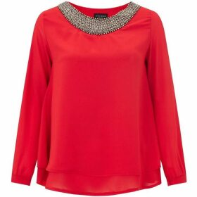 James Lakeland Embellished Neck Blouse