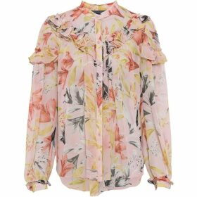 French Connection Floreta Crinkle Floral Blouse