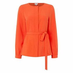 Linea Tie collarless blouse