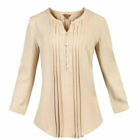 Jolie Moi Button Front Pleated Blouse
