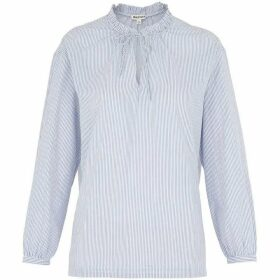 Whistles Relaxed Stripe Tie Neck Blouse