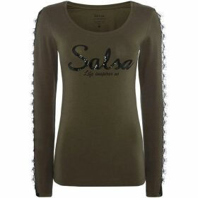 Salsa Long sleeve embellished logo lace sleeve tshirt