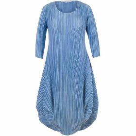 Chesca Plus Size Crush Pleat Crepe Drape Hem Dress