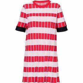 Carolina Cavour Knitted Striped Crinkle Dress