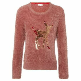 Rose and Wilde Laverna Raindeer Reverse Sequin Crew Neck Jumper
