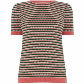 Warehouse Textured Stripe Stitch Jumper