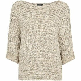 Repeat Cashmere Batwing chunky metallic jumper
