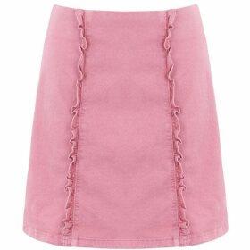 Oasis Pink denim ruffle skirt