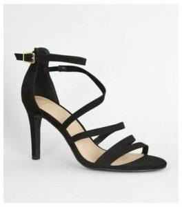Wide Fit Black Suedette Strappy Stiletto Sandals New Look Vegan