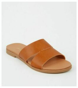 Tan Leather-Look Footbed Sliders New Look