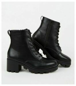 Black Chunky Cleated Lace Up Boots New Look Vegan