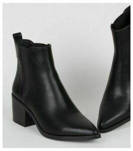 Black Leather-Look Pointed Heeled Chelsea Boots New Look Vegan