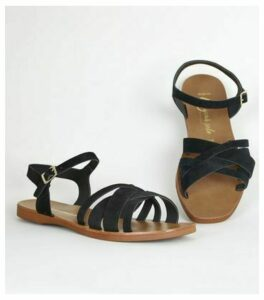Wide Fit Black Suede 2 Part Strappy Sandals New Look