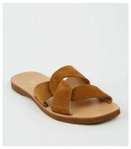 Tan Suede Twist Strap Sliders New Look