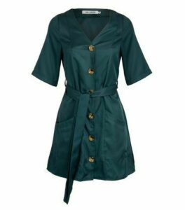 Gini London Teal Button Belted Dress New Look