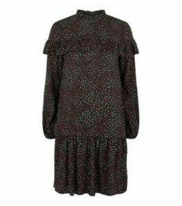Black Brushstroke Print Frill Smock Dress New Look
