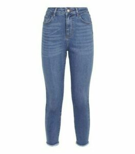 Petite Blue 'Lift & Shape' Raw Hem Skinny Jeans New Look