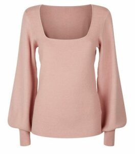 NA-KD Mid Pink Puff Sleeve Jumper New Look