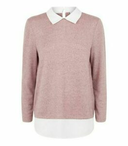JDY Pink 2 In 1 Collared Jumper New Look