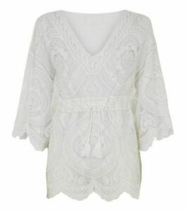 Blue Vanilla Off White Crochet Kimono Top New Look