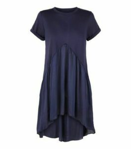 Blue Vanilla Navy Satin 2 in 1 Top New Look