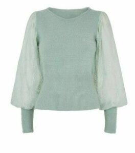 Blue Vanilla Mint Green Puff Sleeve Jumper New Look
