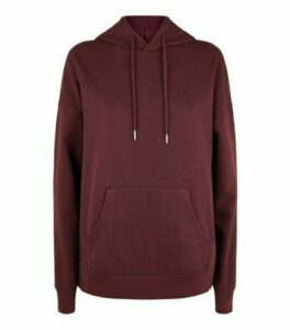 Burgundy Long Sleeve Jersey Hoodie New Look