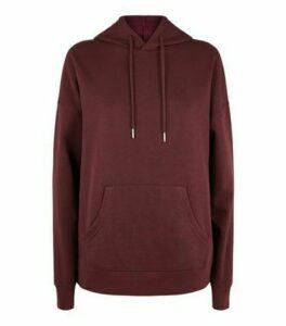 Burgundy Long Sleeve Jersey Hoodie New Look