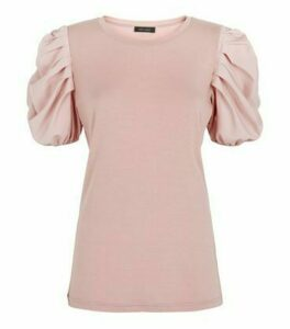 Mid Pink Poplin Ruched Sleeve Crew Neck Top New Look