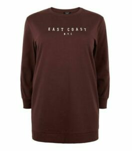 Curves Rust East Coast Slogan Long Sweatshirt New Look