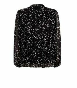 Petite Black Spot Chiffon Tie Back Blouse New Look