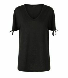 Black Linen Look Ruched Sleeve T-Shirt New Look