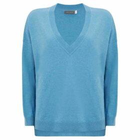 Mint Velvet Blue Metallic V-Neck Knit