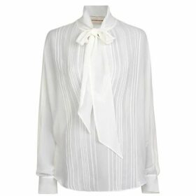 Alexandre Vauthier Pussy Bow Sheer Blouse
