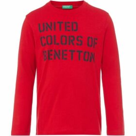 Benetton Text Logo Long Sleeve Cotton Tshirt