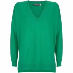 Mint Velvet Green V-Neck Boxy Knit