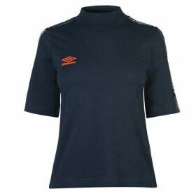 Umbro Short Sleeve Crop T Shirt - Blu Night/Fire