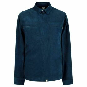 Pretty Green Zip Through Fine Cord Shirt - Navy