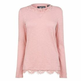 Superdry Superdry Ellis Lace Long Sleeve T Shirt - Vintage Blush