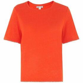 Whistles Pom Pom Trim Linen T-shirt