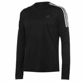 adidas 3 Stripe Long Sleeve T Shirt Mens - Black/White